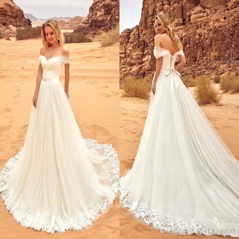 Discount New Beach Wedding Dresses Bridal Gowns With Appliques A ...