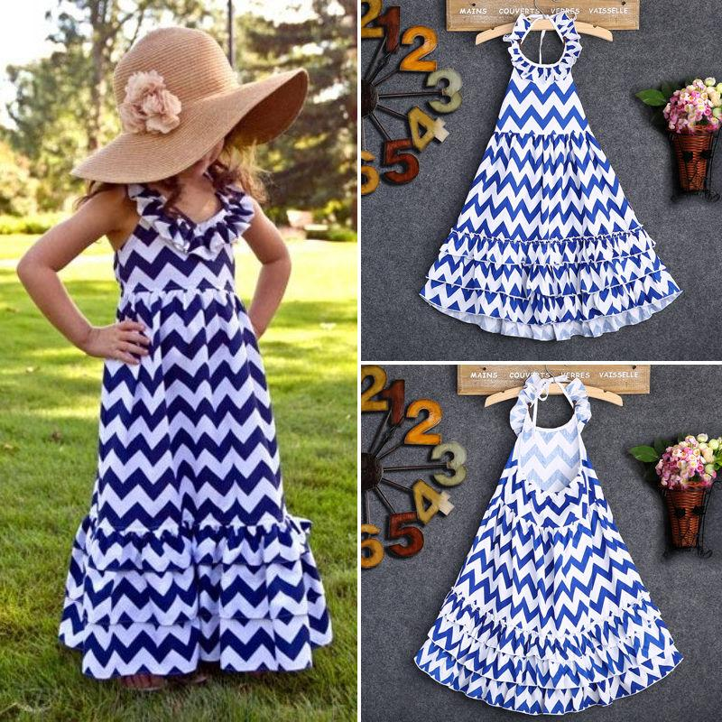 2017 Summer girl clothing kid girls dress Princess Maxi beach long Dress for age 3-10years