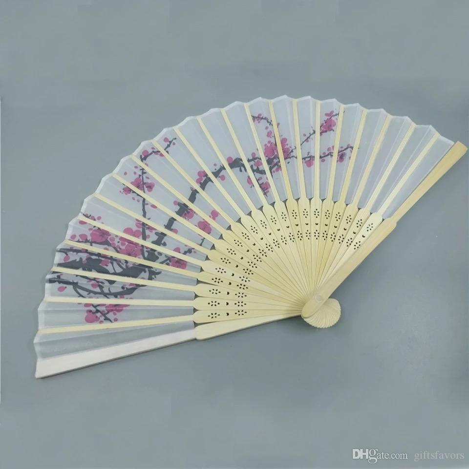 Personalized Silk Hand fans with pouch Wedding giveaways Bridal shower favors Anniversary party gift wholesales