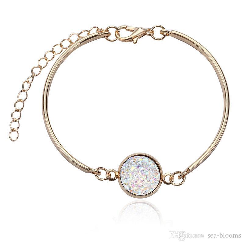 Regalo de la pulsera de la joyería de la manera para la familia amigo multicolor colgante redondo del color del oro pulsera de los brazaletes D634S
