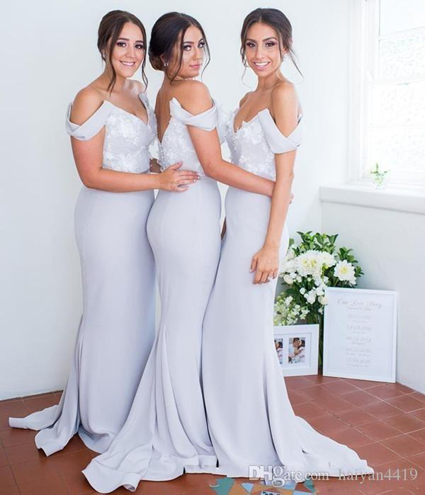 2018 Страна Русалка платья невесты для свадьбы с плеча белое кружево аппликации створки длинные спинки фрейлина свадебные платья для гостей