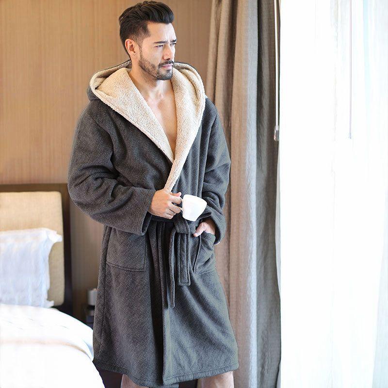 2019 Men S Winter Coral Velvet Hooded Robe Male Warm Long Bathrobes Comfort  Gray Bath Robe Vs T C18110901 From Linmei0004 c0d28fc9b