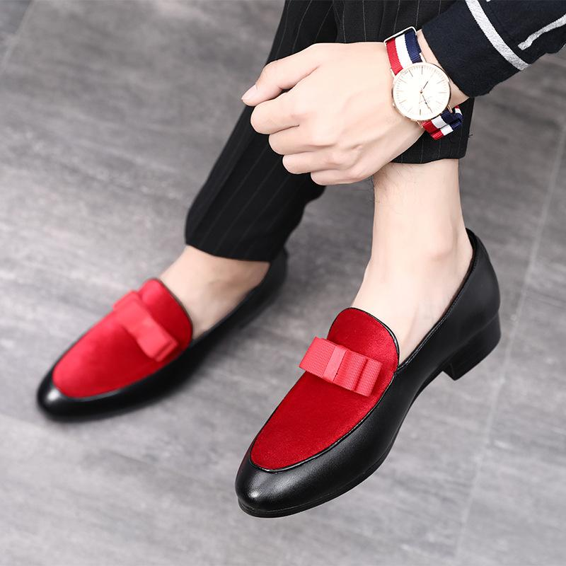e34c44f4b93 M Anxiu Men Formal Shoes Bowknot Wedding Dress Male Flats Gentlemen Casual  Slip On Shoes Black Patent Leather Red Suede Loafers Leather Shoes  Moccasins For ...