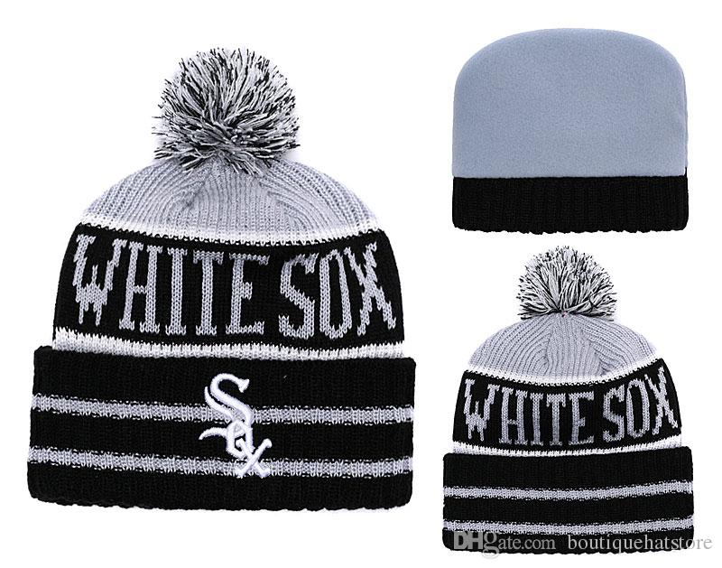 ece46a2f6aa 2018 White Sox Sport Cuffed Knit Hat Beanies with Funny Pom Logo ...