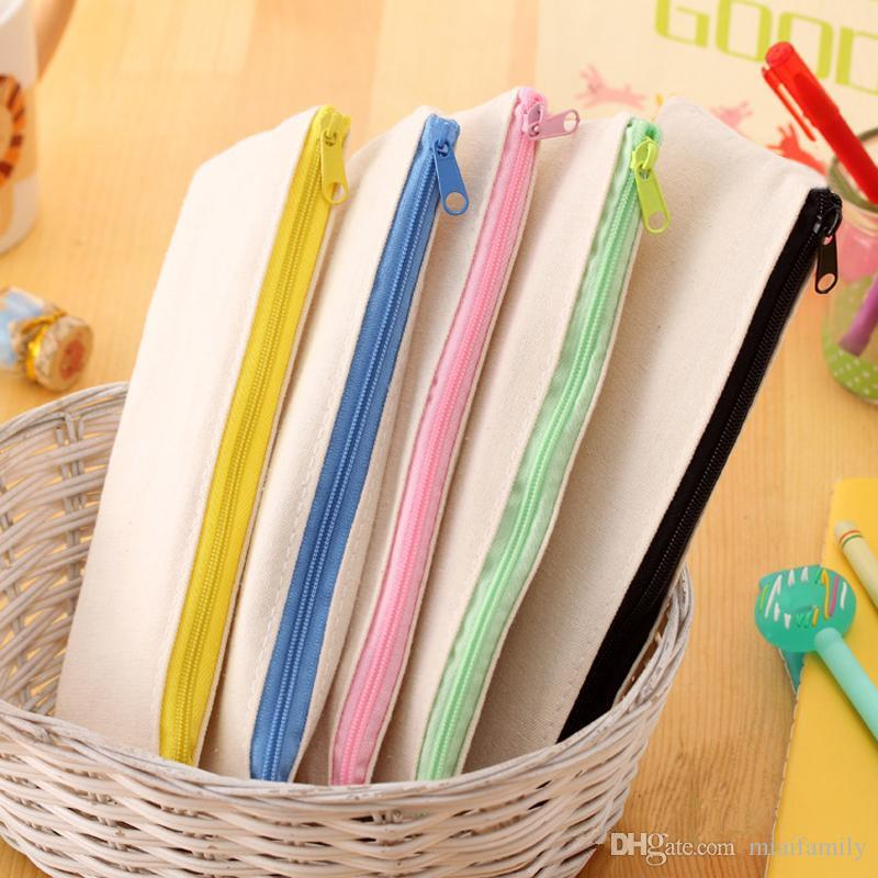 20.5*8.5cmDIY White canvas blank plain zipper Pencil pen bags stationery cases clutch organizer bag Gift storage pouch