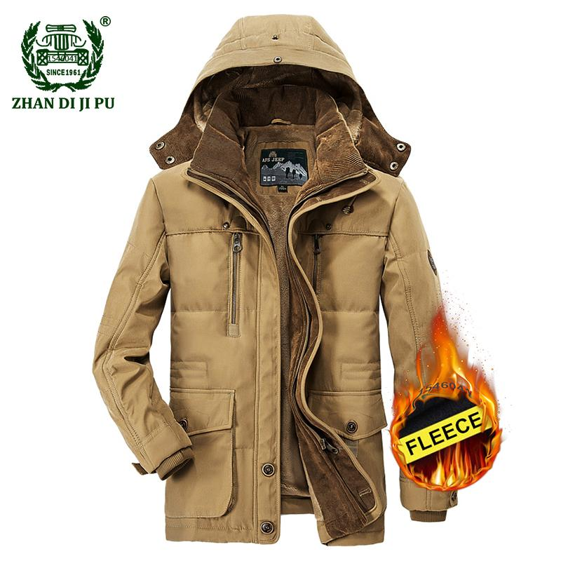 07c46c71335e 2018 Men s Winter Thicken Warm Hooded Casual Brand Army Green Jacket Coat  Man Cotton Afs Khaki Fleece Thick Jacket Coats Mens Leather Bomber Jackets  Jackets ...