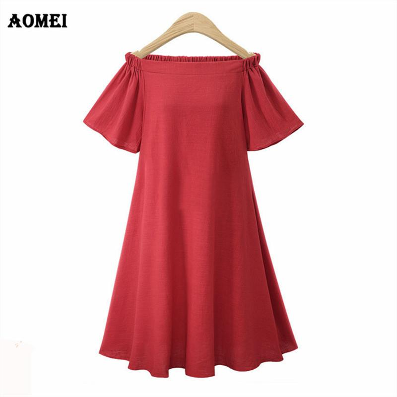 Plus Size Dresses Elastic Off Shoulder Girls Casual Swing Modest Dress Midi  Robes Tunic Vestido Summer Clothes for Women Clothes