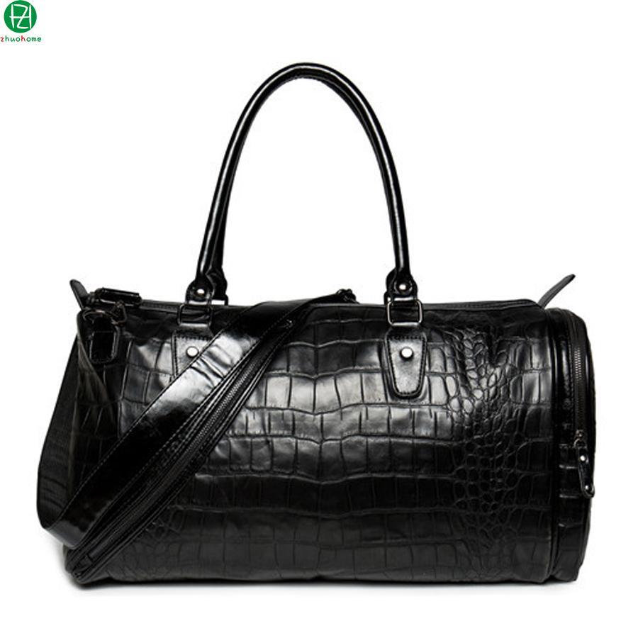 7401e61ece Fashion Large Capacity Leather Men Travel Bags Black Vintage Men ...