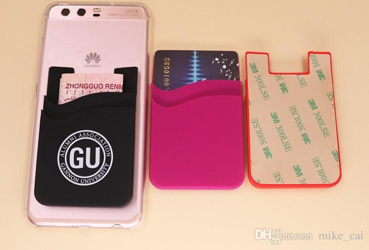 OEM High quality Customized logo printing with 3M sticker silicone double Wholesale Silicone Smart Wallet Cell Phone Silicone ID Card Holder