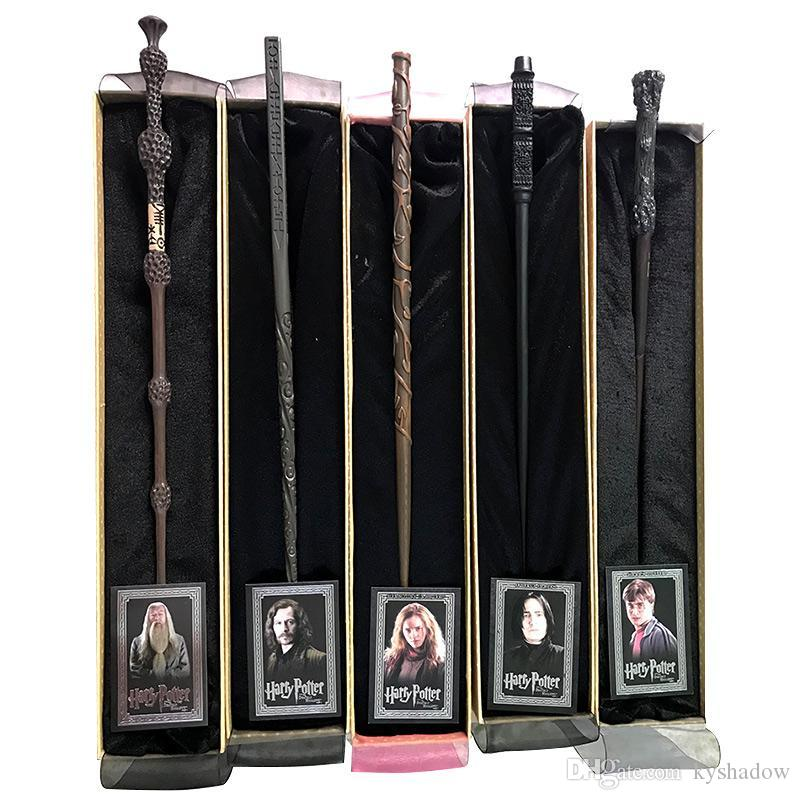 HOT Harry Potter Magic Wand with Ollivanders Wand Box 48 Roles Hermione Voldermort Magic Wands with Metal Core Halloween Cosplay Novelty Toy
