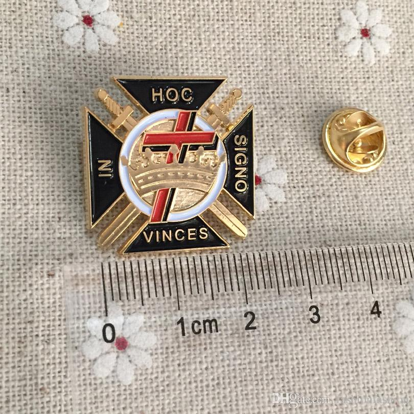 10pcs Templar Commandery Pin Badges Freemason Brooch and Lapel Pins Metal  Craft Wholesale Custom Malta Cross Knights