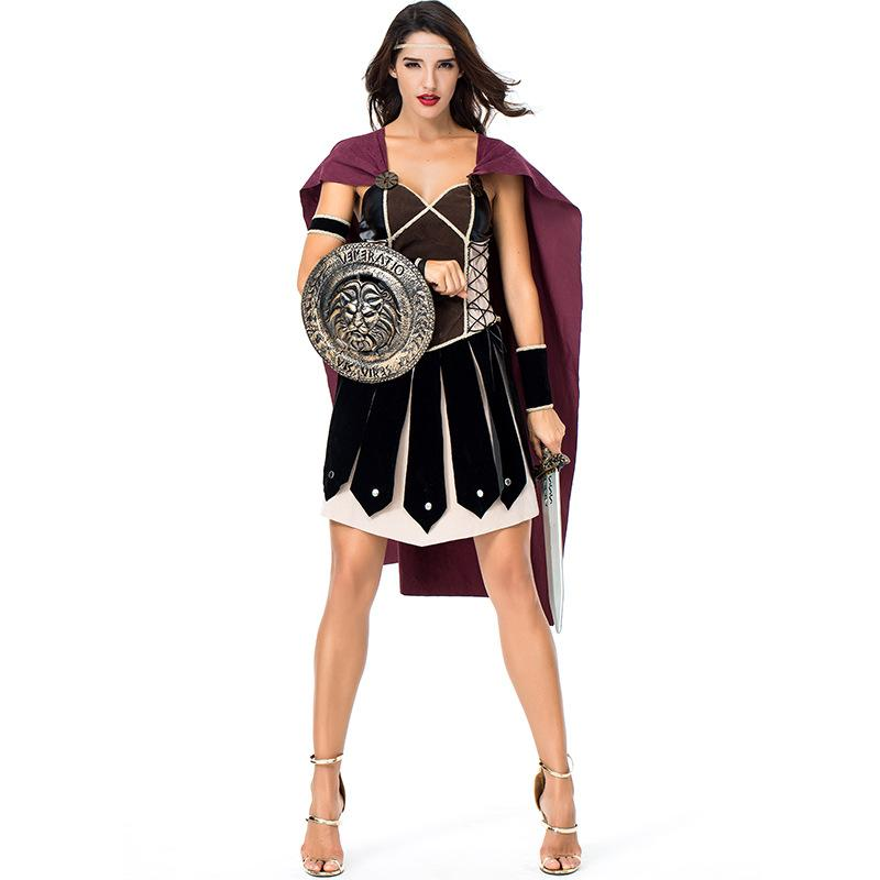 c0ad05492a5 Halloween Purim Women Ancient Roman Greek Warrior Gladiator Costume Knight  Costumes Cosplay Ancient Roman Warrior Cosplay Girl Band Costumes Office  Group ...