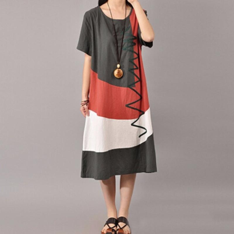 e3d2528f3d Women Dress Vintage Elegant Cotton O Neck Short Sleeve Loose Women  Patchwork Summer Casual Long Dress Plus Size Vestidos White Dresses For  Teenagers Yellow ...