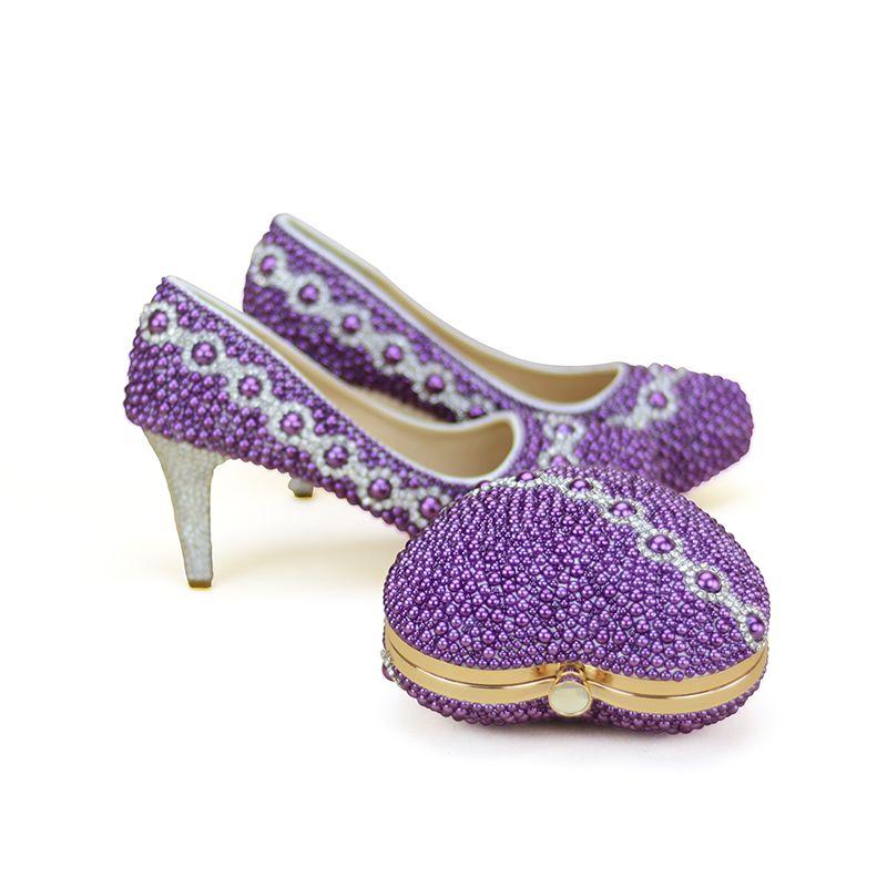 Date Design Purple Perle Chaussures De Mariage De Mariée Avec Beau Sac Correspondant Délicat Handmake Stiletto Femmes Partie Talons Hauts