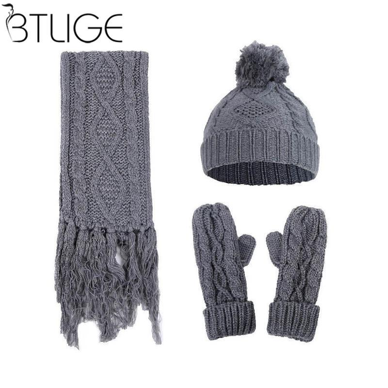 2019 Brand Designer Women Scarf Hat Gloves Set Three Pieces Winter Warm Set  Female Hats Scarves Long Scarf For Women Knitted From Fenkbao 45994a77ecf