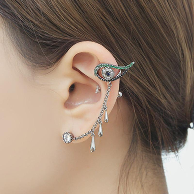 eye clip on earrings ear cuff masculino korean women earrings fashion jewelry ear jacket wrap earcuff brincos