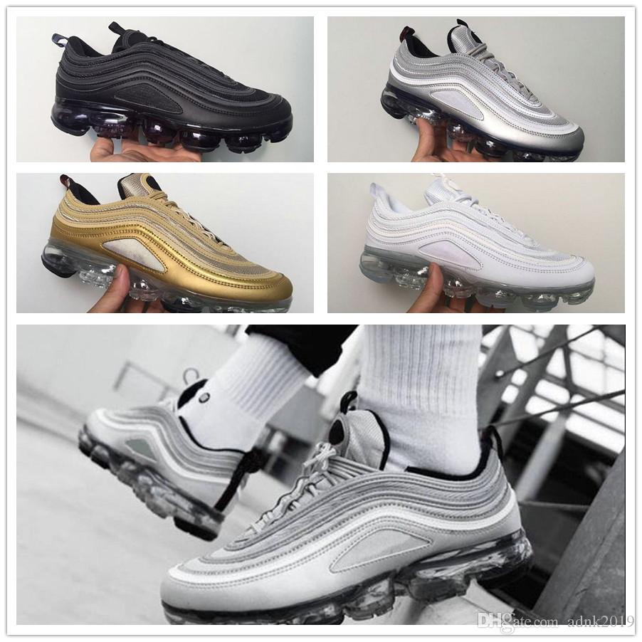 Wholesale 2018 Vapormax 97 Men Women Running Shoes Japan Silver Gold Bullet Triple White Black 97s Mens Trainers Sports Sneakers Size 36-45 discount affordable xu5W4O2