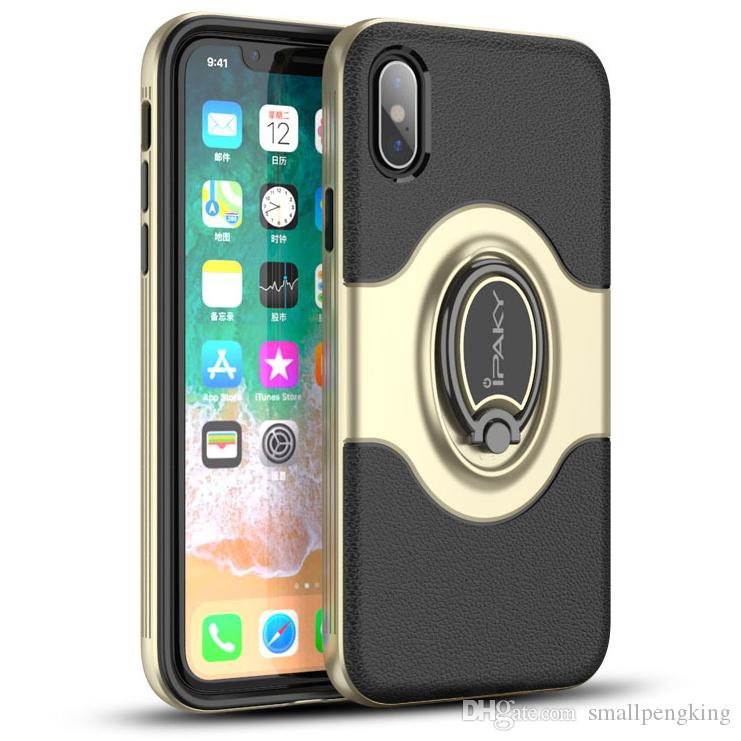 new concept 3a4d7 951aa iPaky Case For iPhone X Rotation Ring Stand Holder iPhoneX Magnetic Back  Cover PC & TPU Drop-proof Cases With Package Stock
