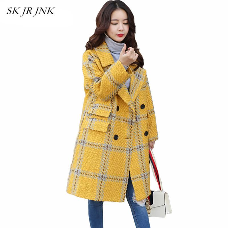 Acheter Hiver Laine Mélange Manteau Femmes 2018 Nouveau Casual Lâche Jaune  À Carreaux Trench Manteau Cachemire Manteau Long Revers Manteaux De Laine  De ... f8df680ce55