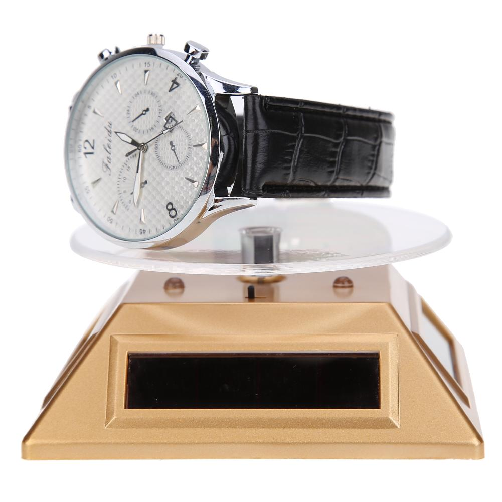 Fashion 3LED Color Lights Solar Showcase 360 Degree Turntable Rotating Jewelry Watch Ring Display Stand Creative Jewelry Display