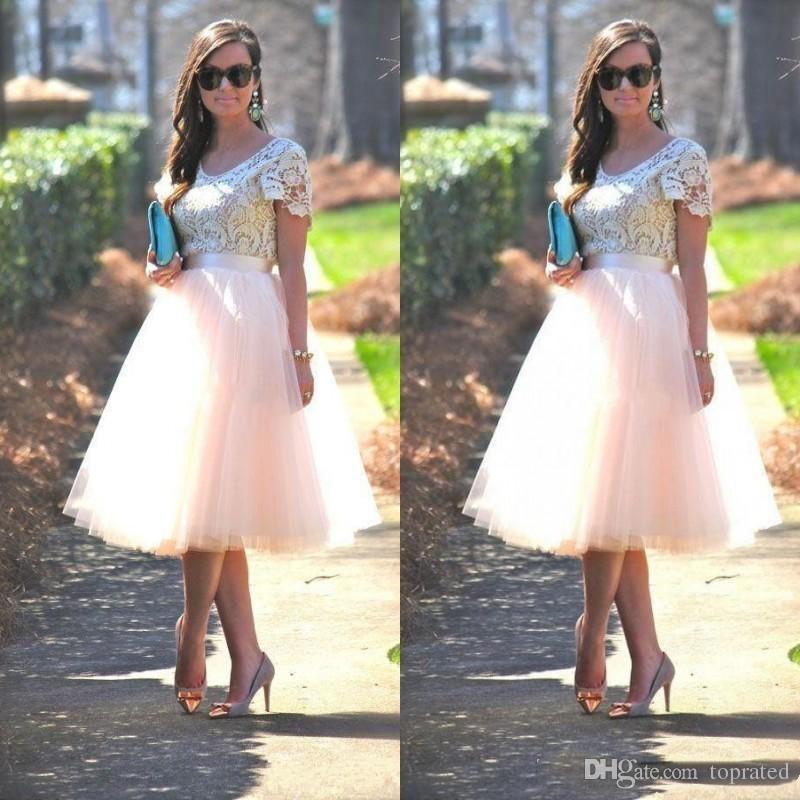 2018 eleganti economici abiti da ballo da promenade con maniche corte pizzo top blush tutu gonne tea lunghezza abiti da sera formale abiti da damigella d'onore