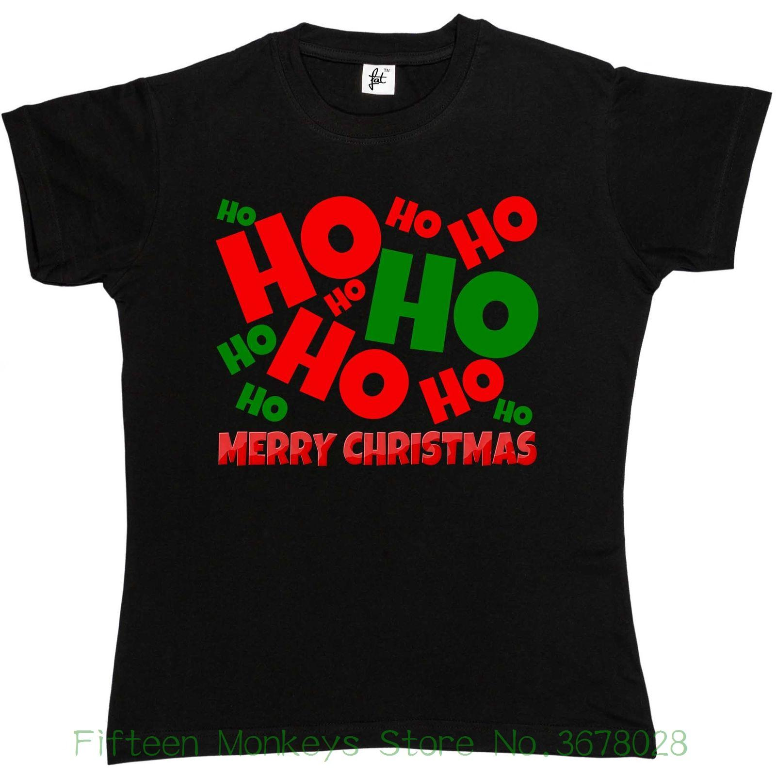 Women\'S Tee Ho Ho Ho Merry Christmas Womens Ladies T Shirt Fashion ...