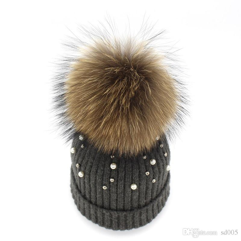Women Ball Top Racoon Dog Warm Pearl Beanies Curling Wind Proof Wool Cap  Outdoor Travel Winter Knitted Hat 27 5ch ff ac701bc2e91