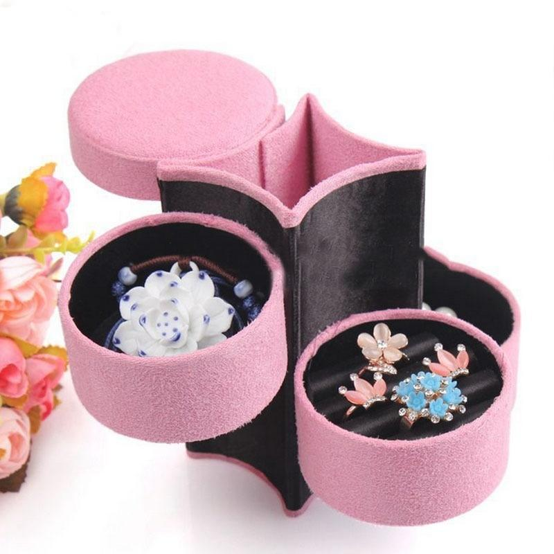 Wholesale 1 PCS Portable Flannel Cylinder Necklace Earring Jewelry Storage Container Case 3 Layers Box Casket Jewelry Display Rack