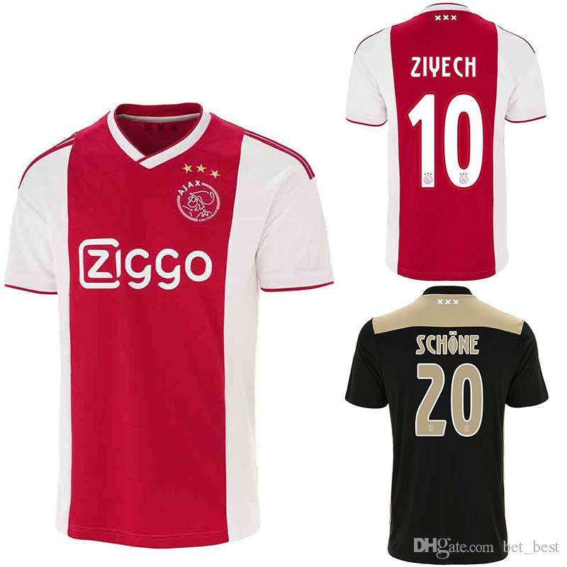 buy popular 8c8c4 ca88f 2019 Ajax Soccer Jersey Schone Dolberg Ziyech Veltman Nouri 18 19 Adult  Ajax Home Rea Away Black Football Shirt Maillot Baby Mini Kit