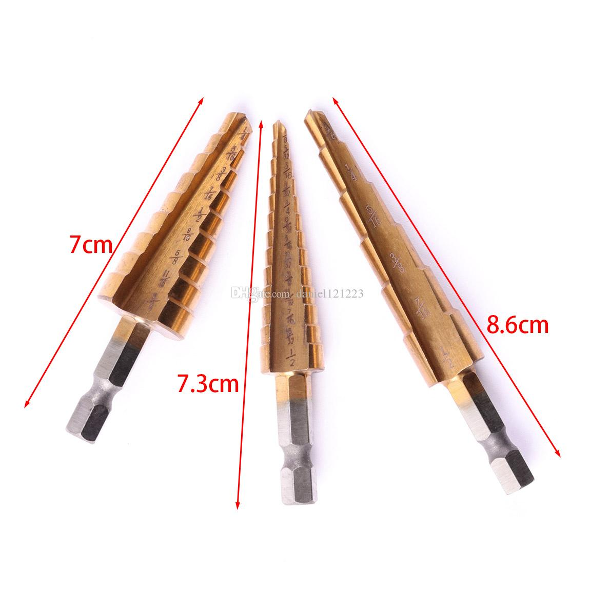 "1/4"" Hex Shank Quick Change Titanium Uni Step Drill Bit Set , 3 Pics , 3/16"" -1/2"" ,1/4""-3/4"" ,1/8""-1/2"""