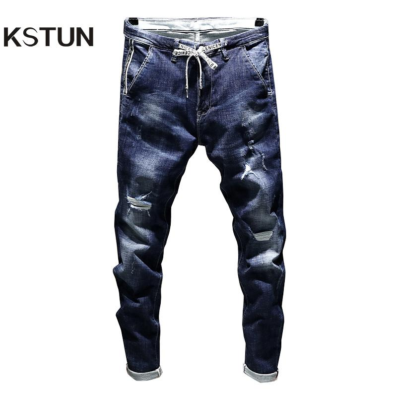 4696d8dc66 2019 KSTUN New Arrivals Jeans Men S Stretch Biker Ripped Pants Blue  Drawstring Slim Fit Tapered Torn Distressed Boys Student Joggers D18102306  From Shen05