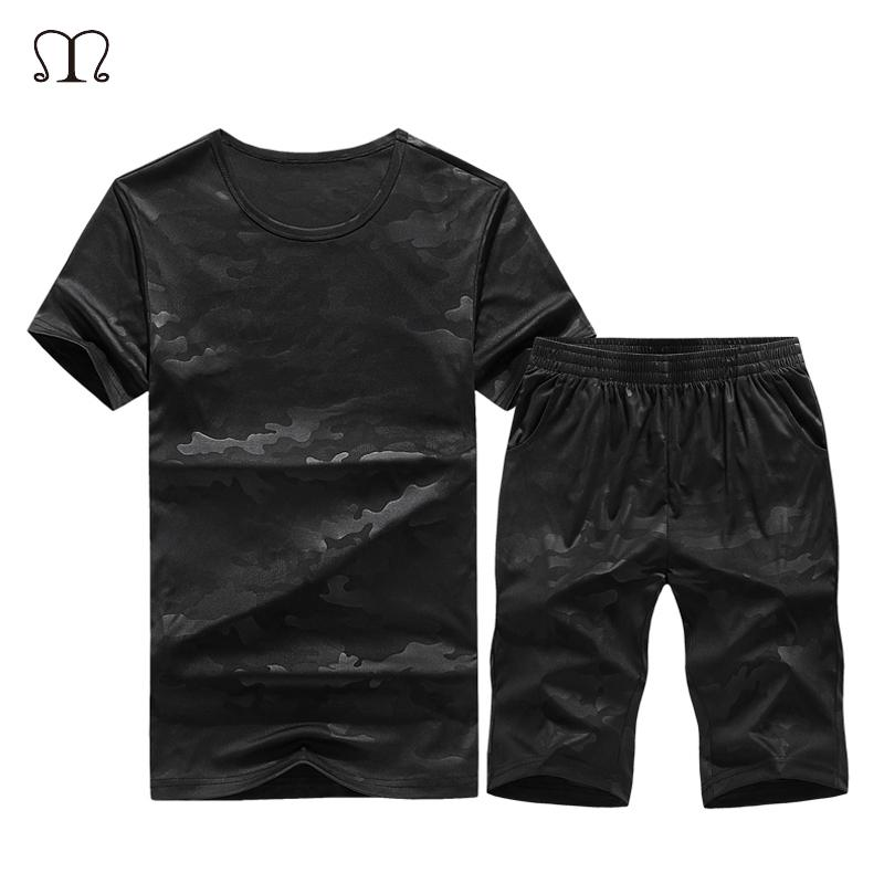 59337902d8f6 Tracksuit Men Sets Summer Casual Mens Sportswear Black Solid Suits ...