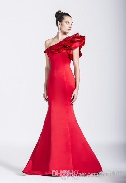da3fdb1c565 Hot Sale Elegant Colors One Shoulder Evening Dresses Ruffles Mermaid Floor  Length Mother Of The Bride Dresses Plus Size Black Evening Dresses Second  Hand ...