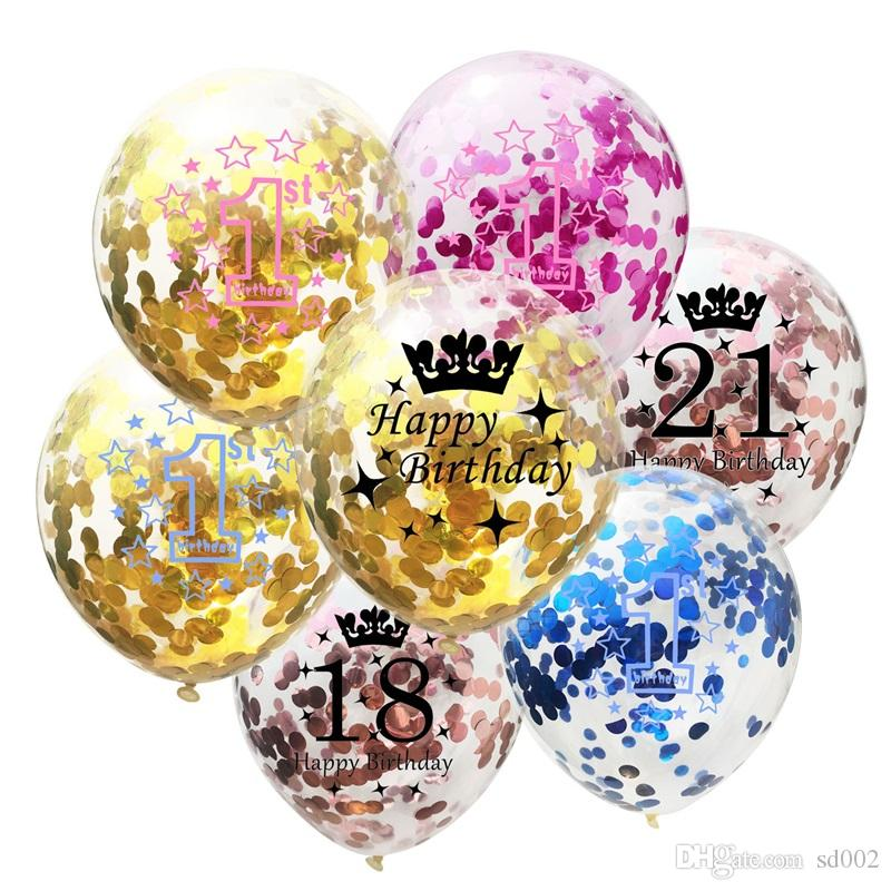 Happy Birthday Party Confetti Balloon Golden Crown Rose Inflatable Balloons Birthdays Decorations Parties Favors Child Gifts 0 85cm Gg Cheap Plates