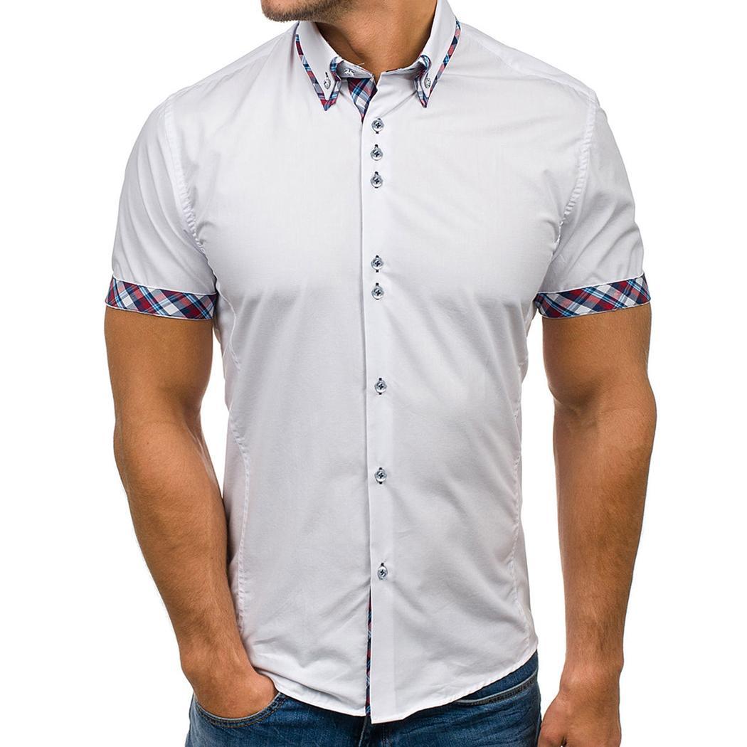 Casual Manga Camisas Hombre Los Camisa Corta Enrejado De 3xl Grandes Vestir Tallas Moda Delgado Tops Para Marca Hombres eW9HYEID2