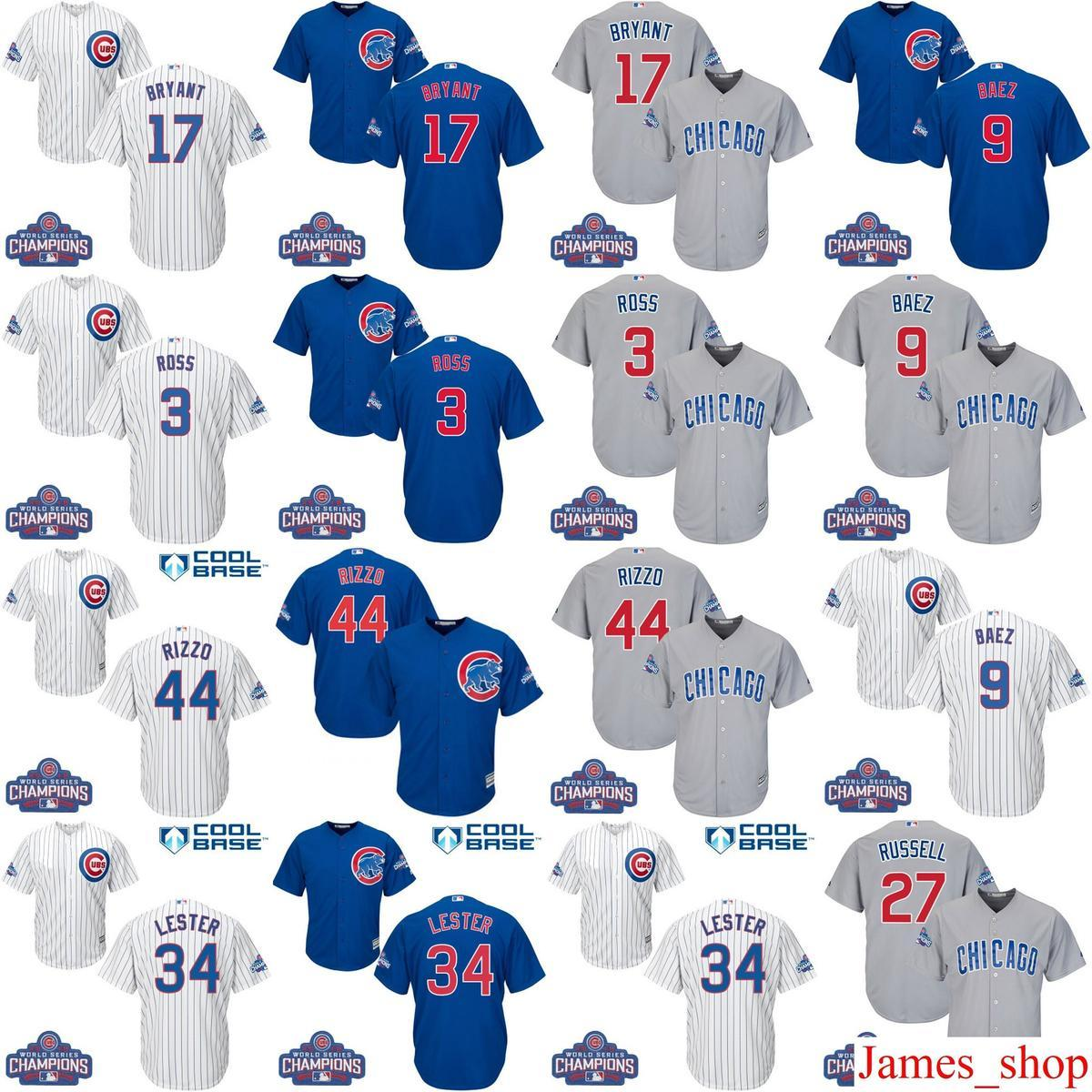 44ccd0f9a18 2019 2016 World Series Champions Patch Youth Men Women Cubs 9 Javier Baez  17 Bryant 44 Rizzo 3 David Ross Kids Baseball Jersey 100% Stitch From  James_shop, ...