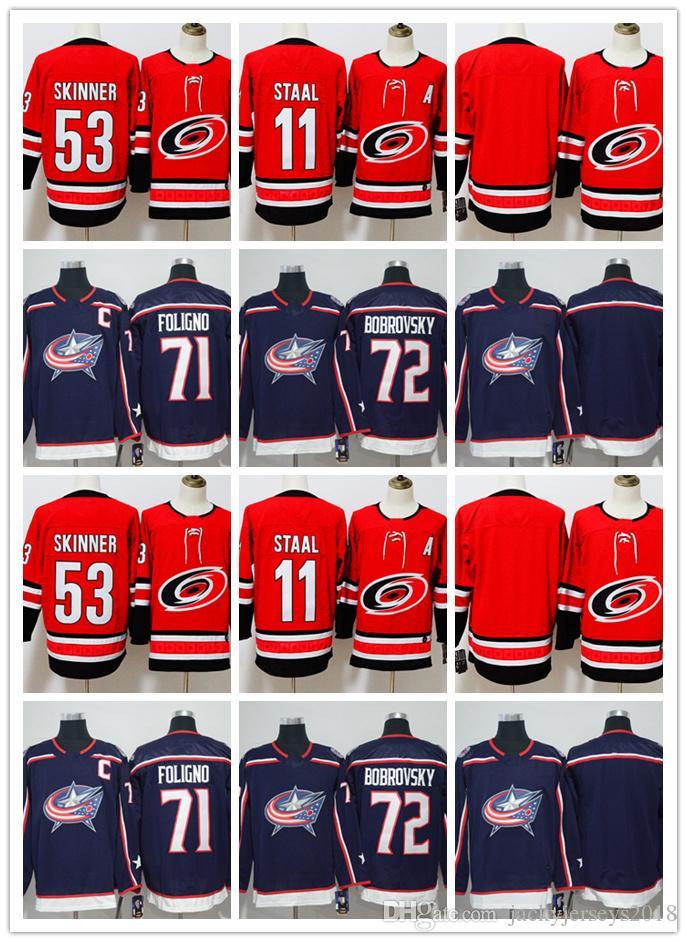 2018 new carolina hurricanes hockey jerseys 11 staal 53 jeff skinner 71 nick foligno 72 sergei bobro