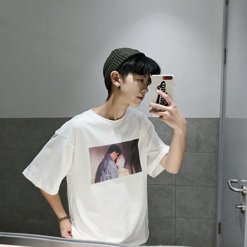 Fashion T Shirt Men Printed Korean Style White T Shirt O Neck Short