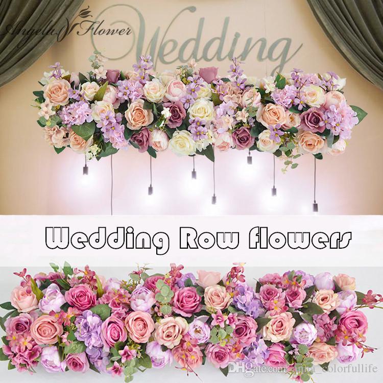 Grosshandel 1m Hochzeit Dekoration Rose Blume Reihe Kunstliche Seide