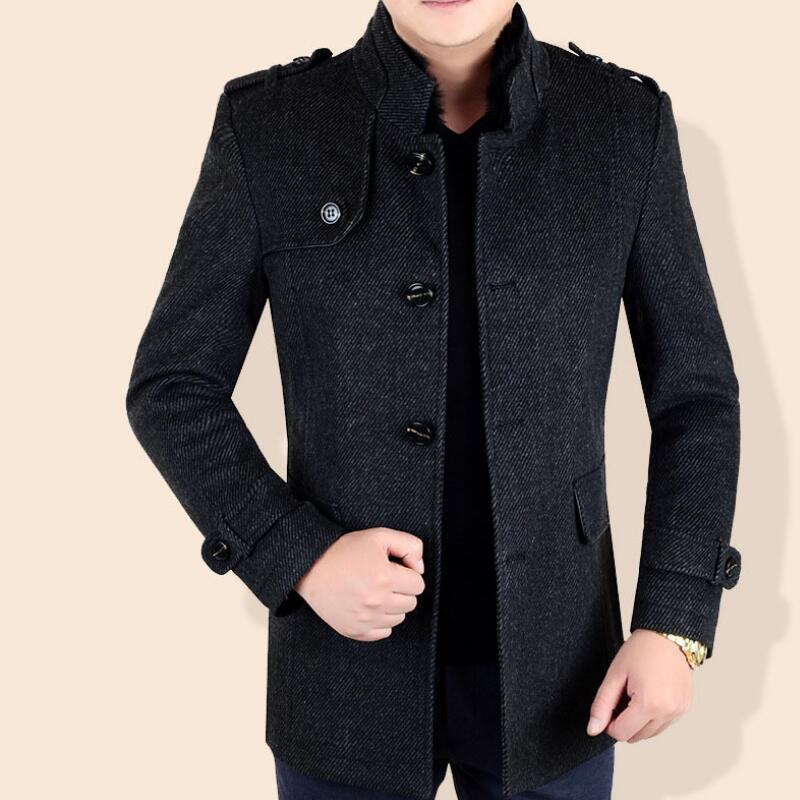 promo code d2870 8b739 Giacche invernali Uomo Giacca in lana Plus Size Uomo Soprabito in  pannoWinter Long Coat Uomo coreano