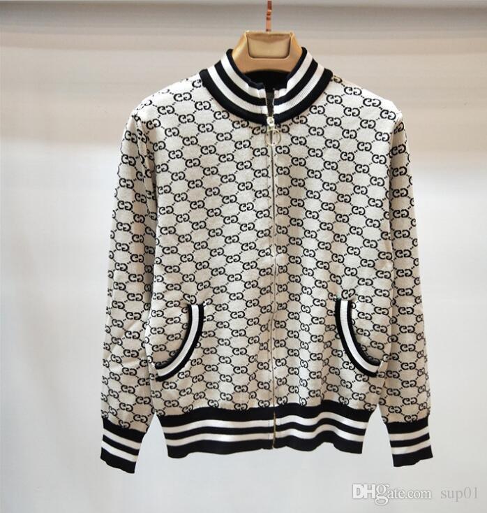 b6951fb8d4 2018 autunno nuove donne di alta qualità giacca jacquard maglione giacca  cardigan cerniera a maglia cappotto corto.