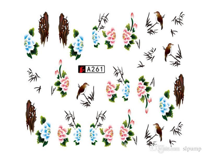 50 Feuilles Ensemble Fleur Mixte Transfert D'eau Nail Autocollants Stickers Art Conseils Décoration Autocollants De Manucure Ongles