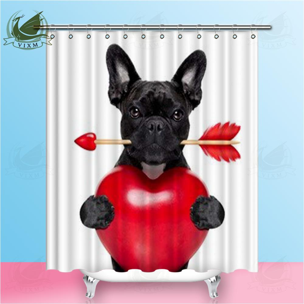 2019 Vixm Valentine French Bulldog Dog With Cupid Arrow And Heart Shower Curtains Polyester Fabric For Home Decor From Bestory 1665