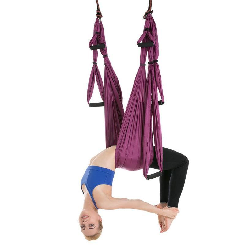 Purple Anti-gravity Yoga Hammock Parachute Fabric Aerial Traction Device Boby Shaping Flying Hanging Swing Belt Sports & Entertainment Yoga