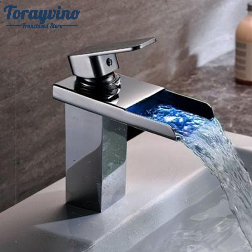 2018 Torayvino Led Tall Basin Faucet Water Tap Bathroom Sink Mixer ...
