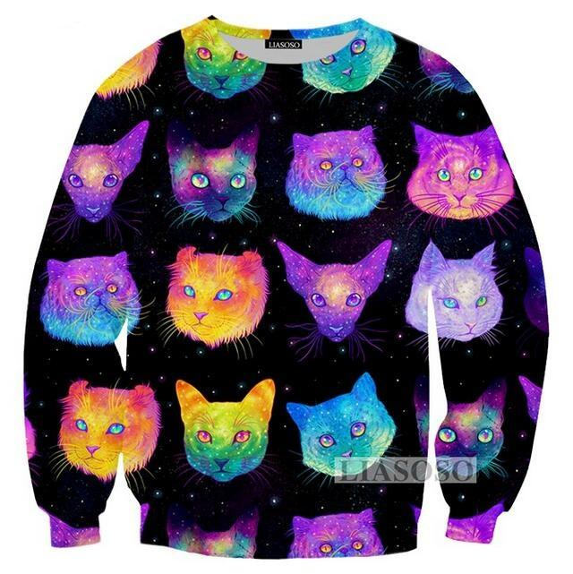 9f58db0bab 2019 2018 Fashion Womens Men The Cat Head Collage Funny 3D Print Casual  Sweatshirts Jumper Fashion Clothing Tops From Fashion5dstore
