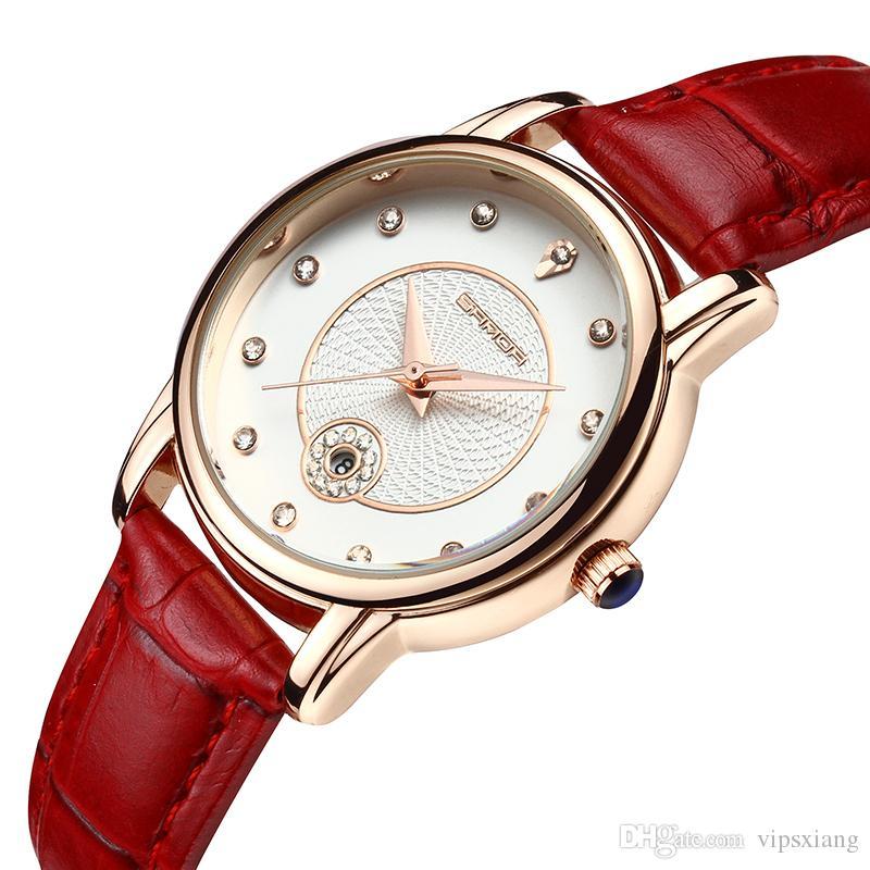 Damenmode Uhr Strass Kalender Uhren Rot Schwarz Sport Lederband Geschenk Mädchen Quarz Wasserdicht Armbanduhr Weiß Luxus Casual TFKc1l3J