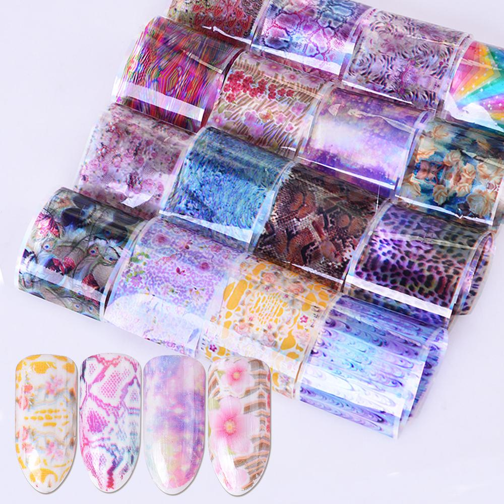 New 16pcs mixed pattern shining starry nail foil diy transfer sticker multi color manicure tips for nail art decoration be502