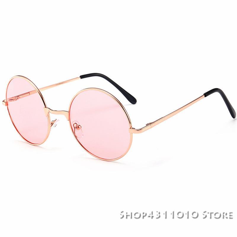 967e56f744728 Compre Rodada Do Vintage Óculos De Sol Das Mulheres Do Oceano Rosa Amarela  Lente Espelho Óculos De Sol Feminino Marca Rose Moldura De Metal Ouro  Círculo ...