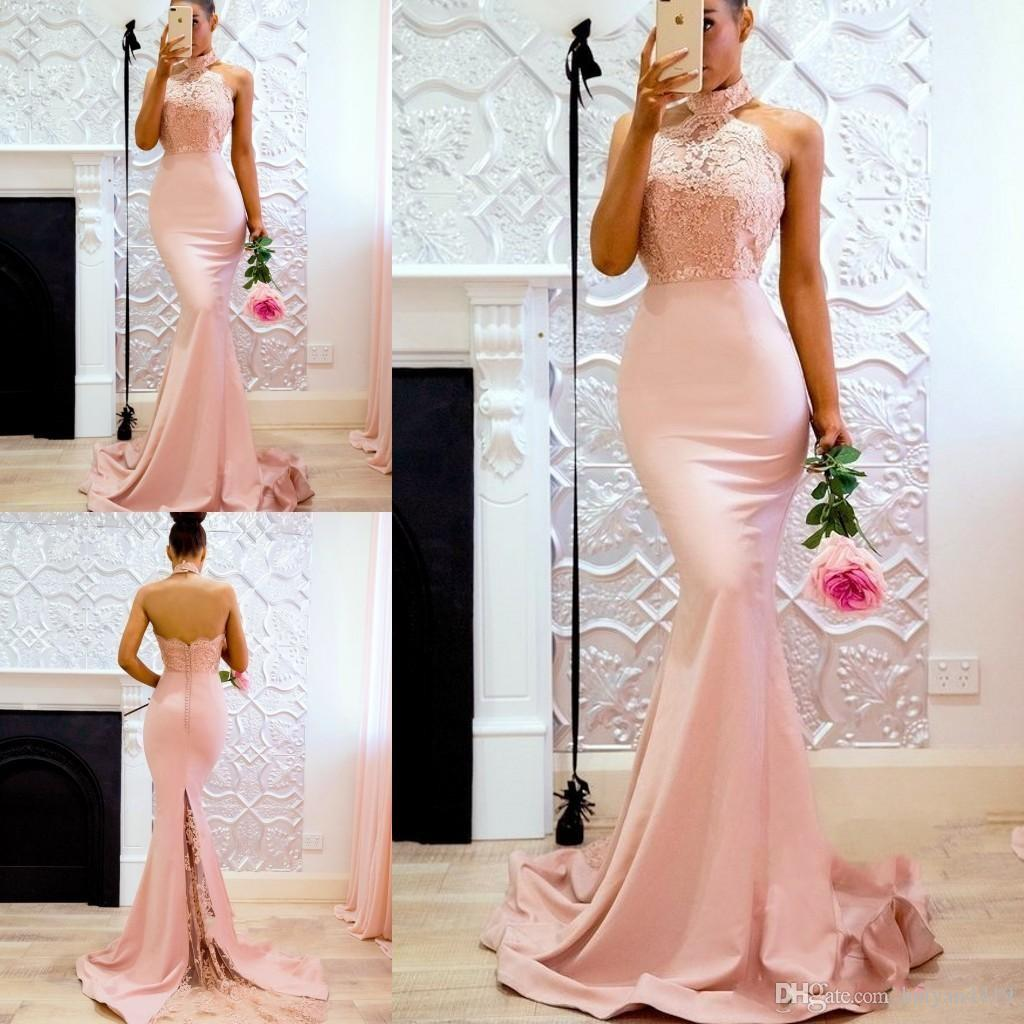 2018 Baby Pink Cheap Bridesmaid Dresses Halter Neck Mermaid Lace Applique  Top Backless Custom Long Satin Wedding Guest Maid Of Honor Gowns Bridesmaid  ... 84ae8d30cb96
